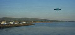 Daytrippers in Helensburgh (Rollingstone1) Tags: helensburgh scotland ufo daytrippers visitors cars vans sea seaside water hills town landscape art artwork outdoor