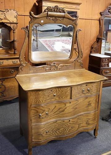 Oak Serpentine Front Dresser with Mirror ($235.20)