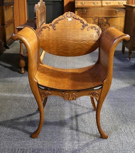 Oak Curved Vanity Arm Chair ($156.80)