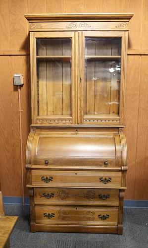 Oak Barrel Roll Top Secretary Desk ($420.00)