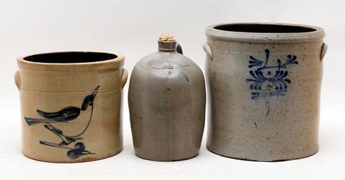 New England cobalt bird decorated 2 gal. stoneware jar -pictured left- ($201.60)