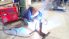 Welding a pole mount for solar panels