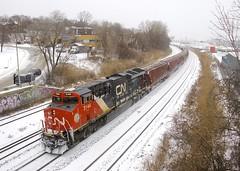 CN 3144 (Michael Berry Railfan) Tags: cn3144 cn canadiannational ge generalelectric gevo et44ac montreal montrealsub train freighttrain cn322