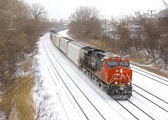 CN 3055 (Michael Berry Railfan) Tags: cn3055 cn canadiannational ge generalelectric gevo et44ac montreal montrealsub train freighttrain cn322