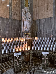... (Jean S..) Tags: wall indoors candles marie statue religion church