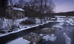 King's Mill. (Explored) (jaros 2(Ron)) Tags: kingsmill squirescreek winter water ice snow sunsetlight formatthitechndgrad ontario canada