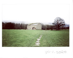 Thursday 30th January (ronet) Tags: fuji thursdaywalk barn edale field film fujiinstax500af instantfilm instax kinderscout pasture peakdistrict scanned utata utata:project=tw719