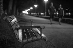 A seat not taken (OzzRod) Tags: pentax k1 zenitarm50mmf17 зенитарм night promenade lights walkers bench seat bokeh monochrome blackandwhite foreshore newcastle