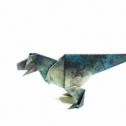 Origami Dinosaur,Aoki Ryo | Design by:Aoki Ryo Folded by me … | Flickr | 500x500