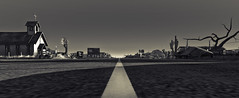 1956 (Tevor Z) Tags: secondlife motherroad route66 bw noiretblanc blackandwhite highway church sunset landscape mishiland