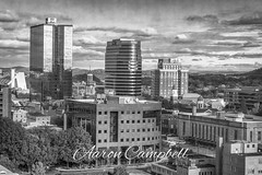 Sunsphere View (No. 2), 2019.10.20 (Aaron Glenn Campbell) Tags: cityscape architecture buildings downtown sunsphere knoxcounty knoxville tennessee easttennessee bw blackandwhite monochrome textures nikcollection analogefexpro viveza sony a6000 ilce6000 mirrorless fotodiox lensadapter emount canon efmount 50mmf18ii primelens