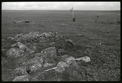 Friday Flashback (Robert Drozda) Tags: nunivakisland alaska beringsea coast historicalsite campsite burial grave rock fishcamp basketball tundra monochrome minoltasrt101 kodaktrix400film 1986 drozda 55gallondrum