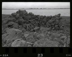 Friday Flashback (Robert Drozda) Tags: nunivakisland alaska beringsea coast historicalsite campsite rock fishcamp tundra monochrome minoltasrt101 kodaktrix400film 1986 drozda bay estuary sanddune
