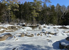 Swift River , Lower Falls (skreechowl2003) Tags: trees water snow ice falls white shadow blue green sky brown boulders bushes statepark river picnic newengland newhampshire swiftriver