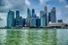 Central Business District (CBD) or downtown of Singapore seen from Marina Bay (UweBKK (α 77 on )) Tags: singapore southeast asia sony alpha 77 slt dslr island state city urban travel cbd central business district downtown marina bay water skyscraper highrise building architecture