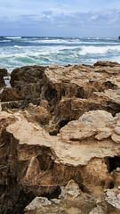 Calciferous rocks (Greenstone Girl) Tags: morningtonpeninsula rocks sea spray point blue