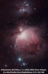 M42 (achrntatrps) Tags: orion nébuleusedorion orionnebula m42 ngc1976 nightshot d5300 nikon photographe photographer alexandredellolivo dellolivo lachauxdefonds suisse nuit night nacht galaxie galaxy achrntatrps achrnt atrps radon200226 radon etoiles stars sterne estrellas stelle astronomie astronomy nicht noche notte suivi astrophotographie ic434 ngc2024 sh2277 lbn953 ced55p ced55n ngc1977 nébuleusedelhommequicourt ngc1973 ngc1975 1975sharpless279 twin1isr2 eosforastro skywatcher200p skywatchereq6rpro astronomik astrometrydotnet:id=nova3913555 astrometrydotnet:status=solved