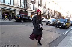 `2864 (roll the dice) Tags: london streetphotography pretty sexy girls sad mad fun funny smile happy reaction people fashion urban unaware unknown england uk classic art canon tourism tourists candid strangers portrait surrealnatural wisdom shops shopping eyes traffic asian chinese virus westminster w1 oxfordstreet westend taxi lights trees hat cold leg selfridges