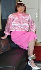 Birgit030082 (Birgit Bach) Tags: skirt rock buttonthrough durchgeknöpft fauxleather kunstleder blouse bluse satin
