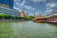 Singapore river with Clarke Quay and tourist bum boat (UweBKK (α 77 on )) Tags: singapore southeast asia sony alpha 77 slt dslr island state city urban travel river stream water flow green clarkequay clarke quay tourist bum boat
