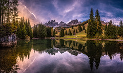 Autumn evening (gregor158) Tags: clouds sunset autumn fall reflection lake tree trees mountains mountain landscape nature alps austria österreich europe travel places filzmoos