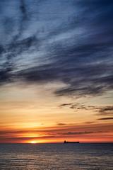 The silhouette (Vest der ute) Tags: g7xm2 g7xll spain ship sea sky clouds morning sunrise fav25