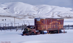 Wichita Forwarding Company (walkerross42) Tags: truck semi wreck rust wichitaforwardingcompany wardboro idaho us30 snow winter mountains trailer fence corral van abandoned pentaxart rustyandcrusty