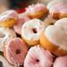 Group of pink donuts closeup.