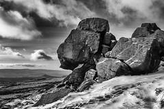 Edale Rocks (l4ts) Tags: landscape derbyshire peakdistrict darkpeak kinderscout edale edalerocks southhead gritstone gritstonetors cloudscape clouds snow winter blackwhite monochrome