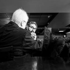 Talking And Eating (Sean Batten) Tags: london england unitedkingdom blackandwhite bw streetphotography street people candid talking eating food fujifilm x100f whitehair bfisouthbank