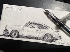 My 'grail' car - Porsche 911 (schunky_monkey) Tags: illustration art fountainpen penandink ink pen sketching sketch napkinsketch napkin drawing draw vehicle automobile sportscar cars car porsche porsche911