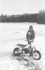 2018121901_03 (onebellboy) Tags: wholerollproject wwwellsworthbellcom onebellboy kodak trix nikonf5 50mmf18g diafine nikonsupercoolscan4000 blackandwhite monochrome grain outdoors maine yamah bigwheel bw80 exeter winter snow dirtbike