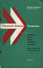 British Railways Western region : Plymouth Division timetable, October 1964 (mikeyashworth) Tags: mikeashworthcollection britishrailways timetable westernregion southwestengland cornwall devon dorset somerset wiltshire 1964 corporateidentity graphicdesign bookcover bookcoverdesign type typeface typography plymouthdivision lettering
