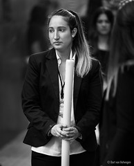 Procession (Bart van Hofwegen) Tags: girl woman procession procesión religion religious candle street streetphotography streetportrait city citystreet citylife urban urbanphotography urbanlife life people citypeople monochrome blackandwhite andalucía andalusia málaga malaga