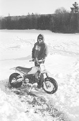 2018121901_04 (onebellboy) Tags: wholerollproject wwwellsworthbellcom onebellboy kodak trix nikonf5 50mmf18g diafine nikonsupercoolscan4000 blackandwhite monochrome grain outdoors maine yamah bigwheel bw80 exeter winter snow dirtbike