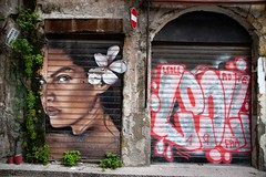 Graffiti seen in the old town of Palermo, capital of Sicily, Italy