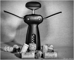 Workout (-Brian Blair-) Tags: corkscrew wine cork mono monotone black white ten workout exercise humor metal