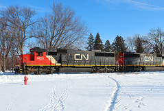 Sun, Snow and a late L517 (view2share) Tags: l517 cn canadiannational cold 517 cn517 cnl517 cn5423 cn5438 electromotivedivision emd engine westbound westernwisconsin stcroixcounty minneapolissub locomotive local track transportation tracks trains transport trackage trees travel train transfer freight freighttrain wisconsin wi winter northwesternwisconsin newrichmond railroading railroads railway rail rails rr railroaders rring railroad rural snow snowcover shipping shipment deansauvola february12022 february2022 february 2022