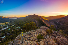Sunset at Halls Gap (leonsidik.com) Tags: leon sidik sunset fujifilm victori australia landscape outback sun halls gap melbourne rocks lookout city town grass dry orange blue 2019