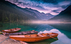 September morning (gregor158) Tags: sunrise clouds lake mist mountains mountain tree trees boats landscape reflection austria europe travel places