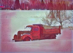 Snow Bound (HSS) (13skies) Tags: hss happyslidersunday truck alone slidersunday postprocessing postwork effect creative deepsleep old relic snow field deepdreamgenerator distance software cool colours antique a2a attraction2abstraction