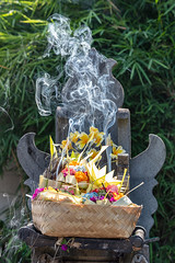 Smokin! (A Different Perspective) Tags: asia bali i indonesia kerobokan o s t basket flower green incense offering smoke temple
