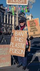 Ban This Plastic Poison - Explored (Sean Batten) Tags: london england unitedkingdom westminster streetphotography street fujifilm x100f candid person city urban plastics protest signs