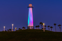 Lion's Lighthouse at Twilight Blue Hour (SCSQ4) Tags: bluehour california clearday colorchanging colorful dawn favorite favoritepicture lighthouse lionslighthouse longbeach morning shorelineaquaticpark shorelinevillage sunrise twilight