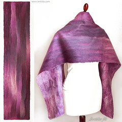 Merino wool scarf for women ombre Pink Purple and Lilac felt scarf (Arctida) Tags: felt felted felting filz nuno merino wool merinoull hantverk clothing scarf shawl wrap lilac purple violet pink magenta ombre silk viscose work making handmade handcrafted designer textile artist fibers texture line modern fall autumn spring winter trend time day artisan shop europe scandinavian sweden eco organic everyday wear fashion guide shopping collection classic new natural seamless norrbotten luleå 50mm colors colours light for girl women gift mother mom sister girlfriend design style high couture fashionista