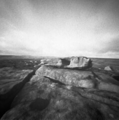 The Altar of Alcomden (Richie Rue) Tags: landscape megalith altar stones brontecountry haworth moor moorland blackandwhite monochrome bnw bw film analogue foma retropan320s pinhole lensless mediumformat square 6x6 mindfulphotography contemplativephotography