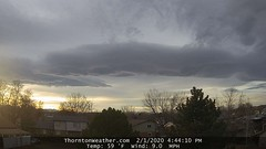 February 1, 2020 - Spring-like clouds in the evening. (ThorntonWeather.com)