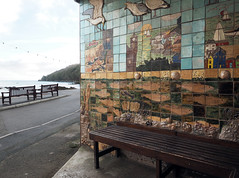 somewhere to sit (chrisinplymouth) Tags: seaside shelter bench seat ferry kingsand cornwall uk wall cameo plain cw69x diagonal perspective diag r267 esd