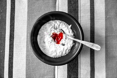 The Way To Someone's Heart Is Through Their Stomach (HiJinKs Media...) Tags: colours colors colour color lines stripes striped food spoon bowl bristol heart hearty morning abstract red blackwhite black grey white silver textures texture life random winter warm