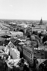 Riga (Missing Pictures) Tags: city travel roof blackandwhite bw white black streets film rooftop monochrome town europe eu latvia streetphoto filmcamera traveling riga explore explored buildings